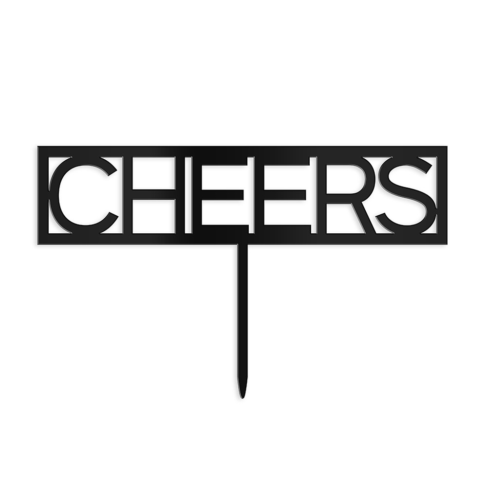 Block Cheers Acrylic Cake Topper - Black