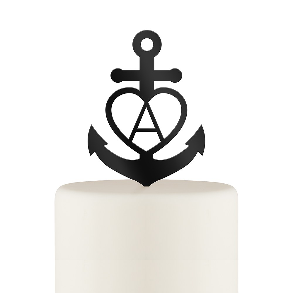 Love Anchor Acrylic Cake Topper - Black