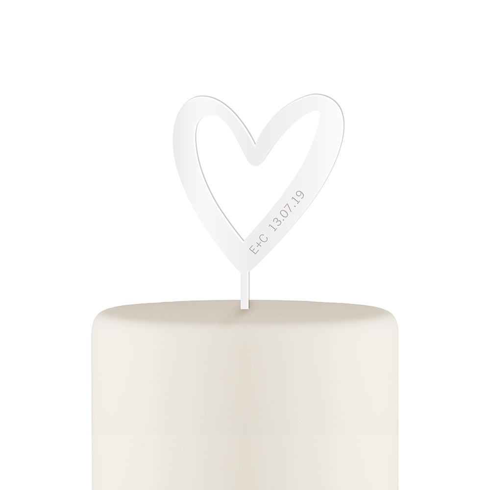 Personalized Mod Heart Acrylic Cake Topper - White