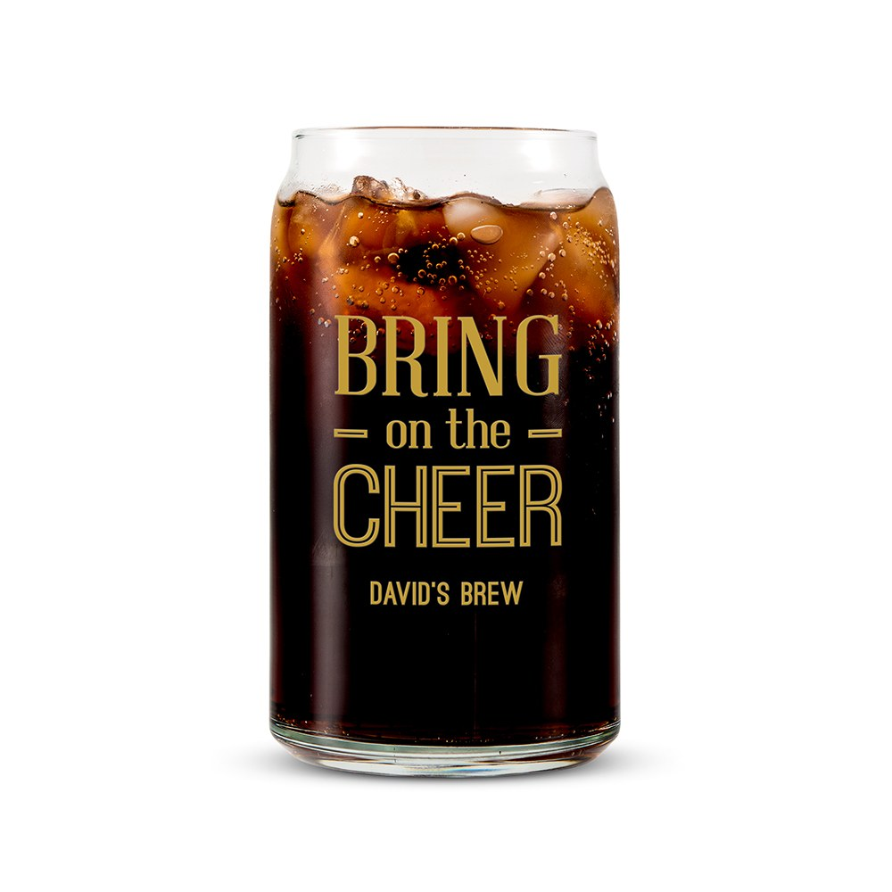 Personalized Can Shaped Drinking Glass – Bring on the Cheer Print