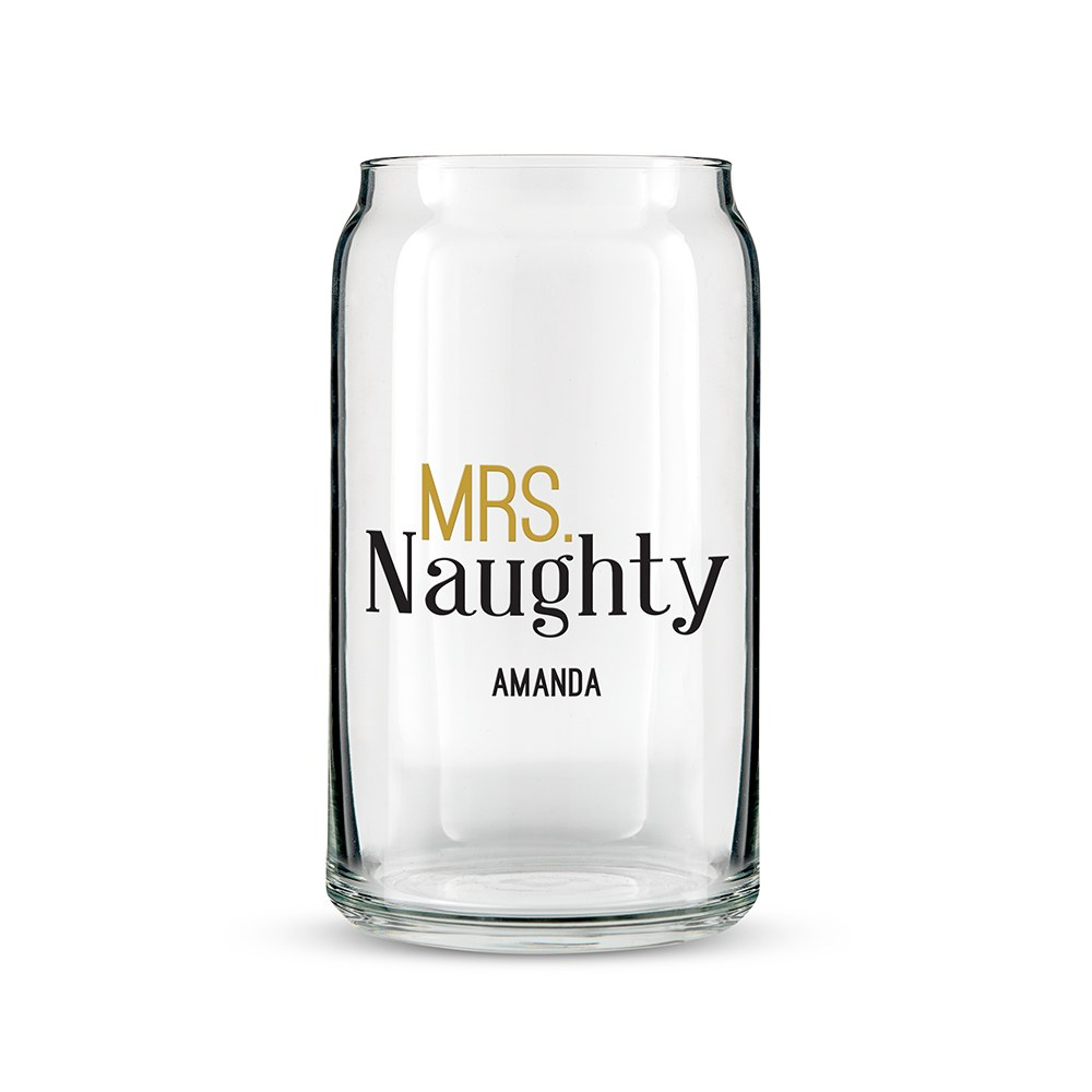 Personalized Can Shaped Drinking Glass – Mrs. Naughty Print