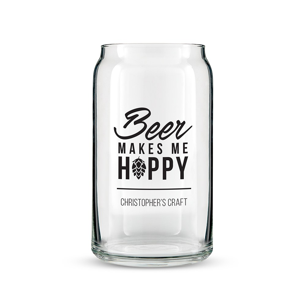Personalized Can Shaped Drinking Glass – Beer Makes Me Hoppy Print