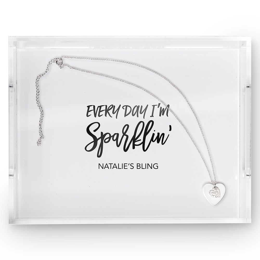 Small Personalized Rectangular Acrylic Tray – Every Day I'm Sparklin' Print