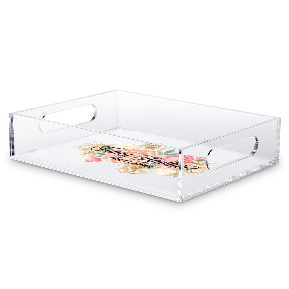 Small Personalized Rectangular Acrylic Tray – Fancy Another Modern Floral Print