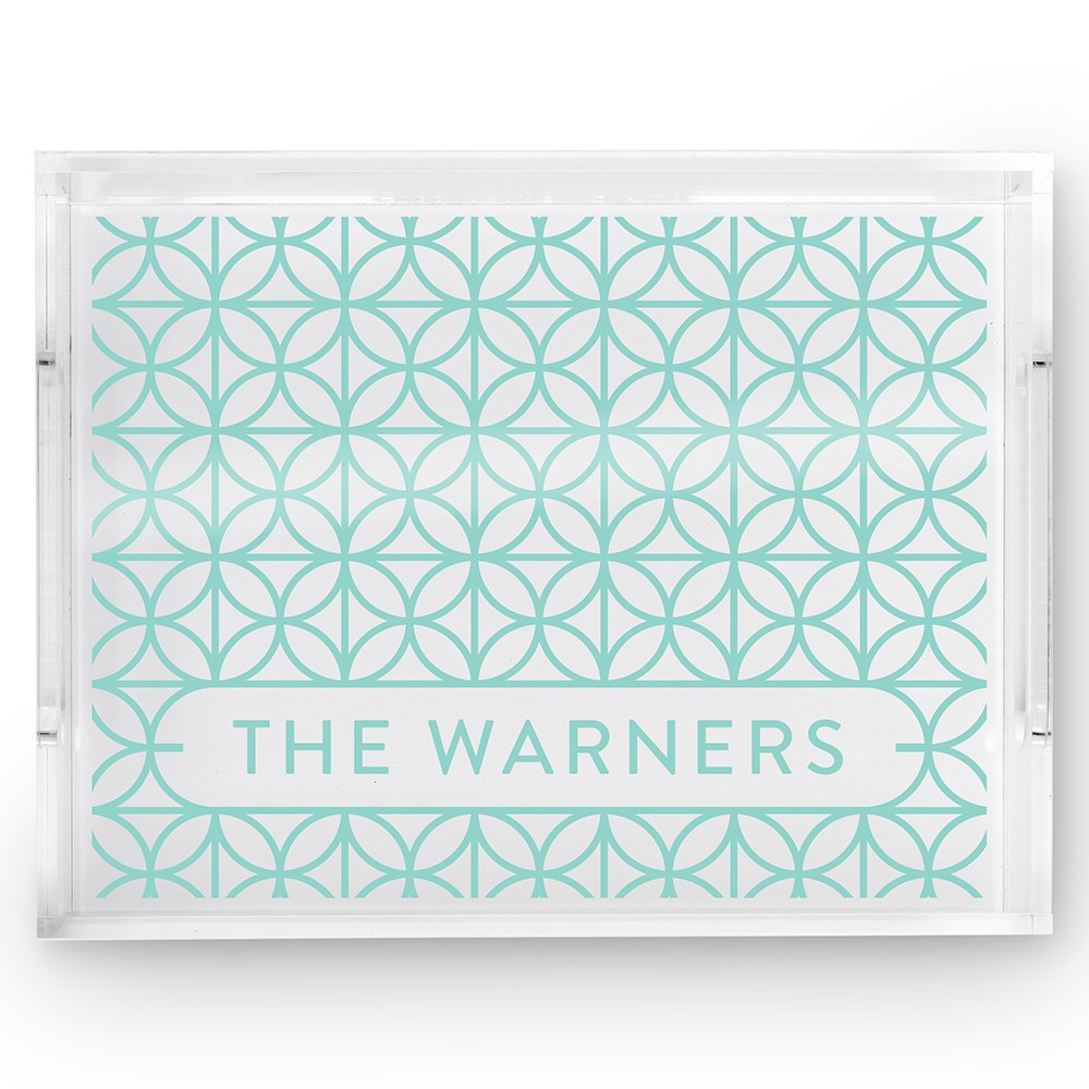Small Personalized Rectangular Acrylic Tray – Blue Summer Vibes Print