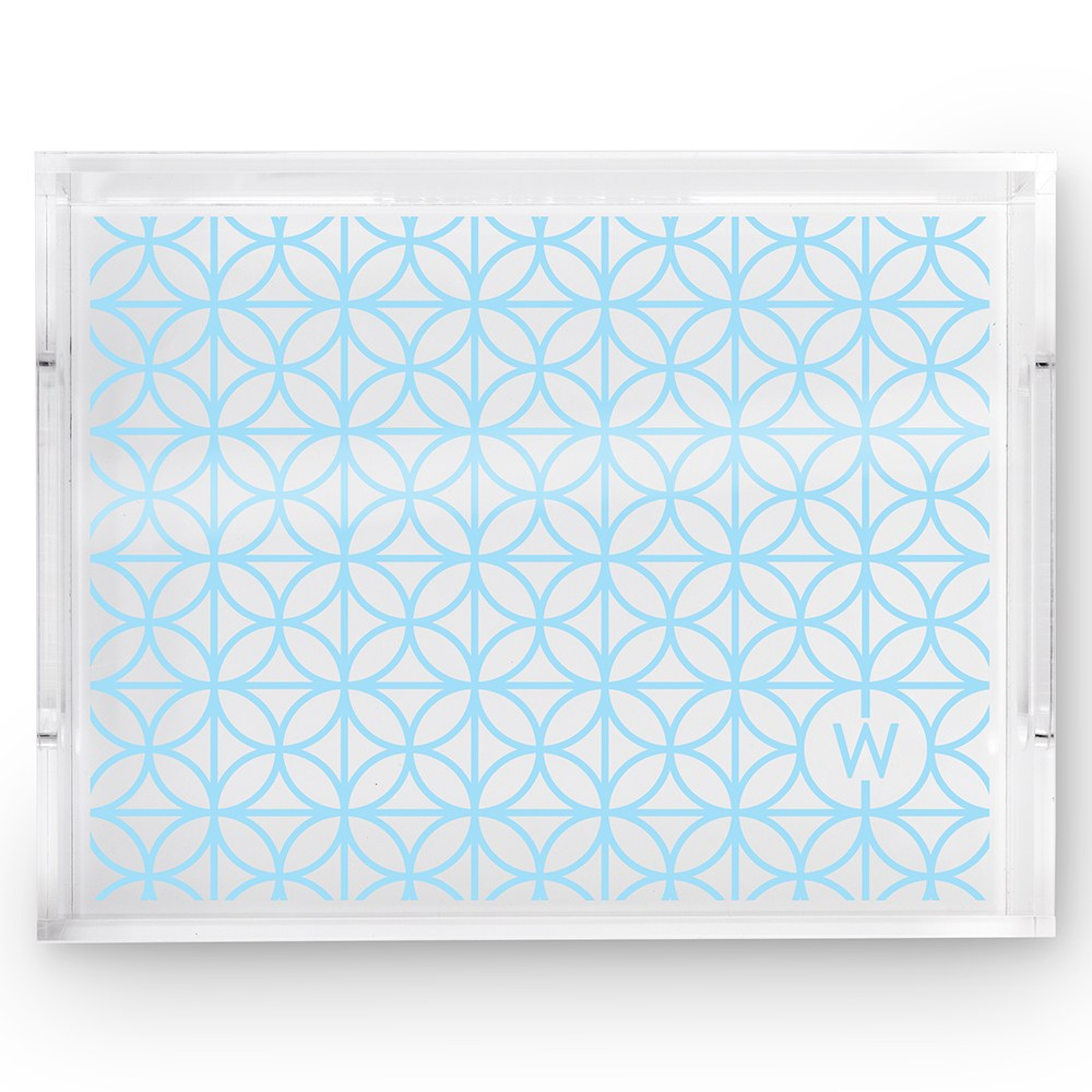 Small Personalized Rectangular Acrylic Tray – Blue Summer Vibes Initial Print