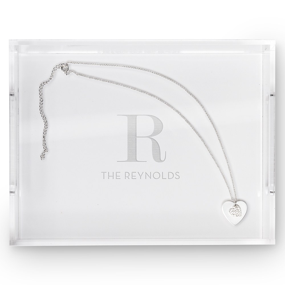 Small Personalized Rectangular Acrylic Tray- Modern Serif Initial Engraving