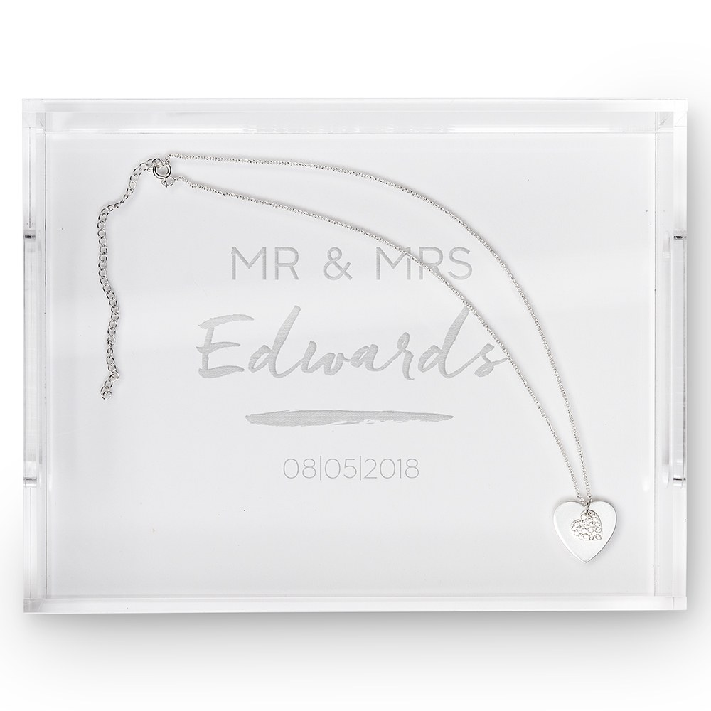 Small Personalized Rectangular Acrylic Tray- Handwritten Engraving