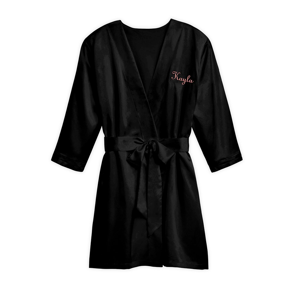 Women's Personalized Embroidered Satin Robe with Pockets- Black