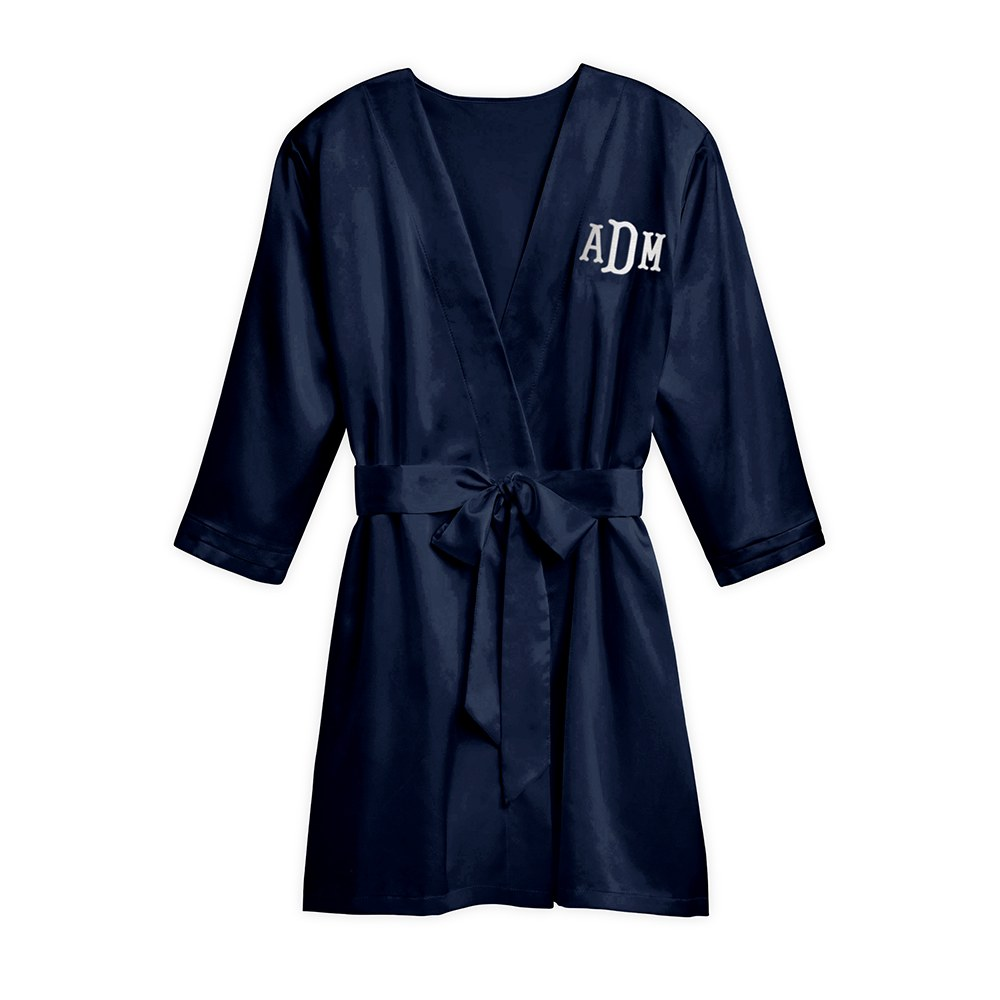 Women's Personalized Embroidered Satin Robe with Pockets- Navy Blue