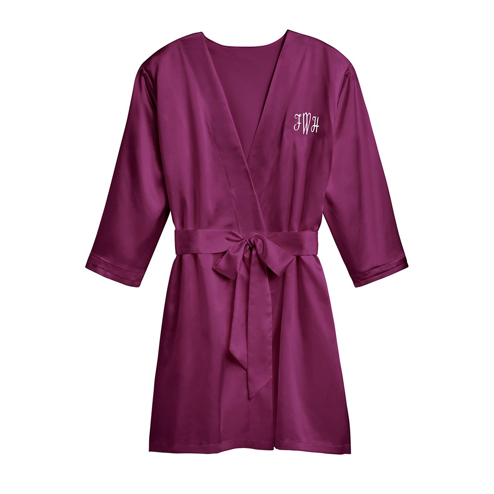 Women's Personalized Embroidered Satin Robe with Pockets- Plum Purple