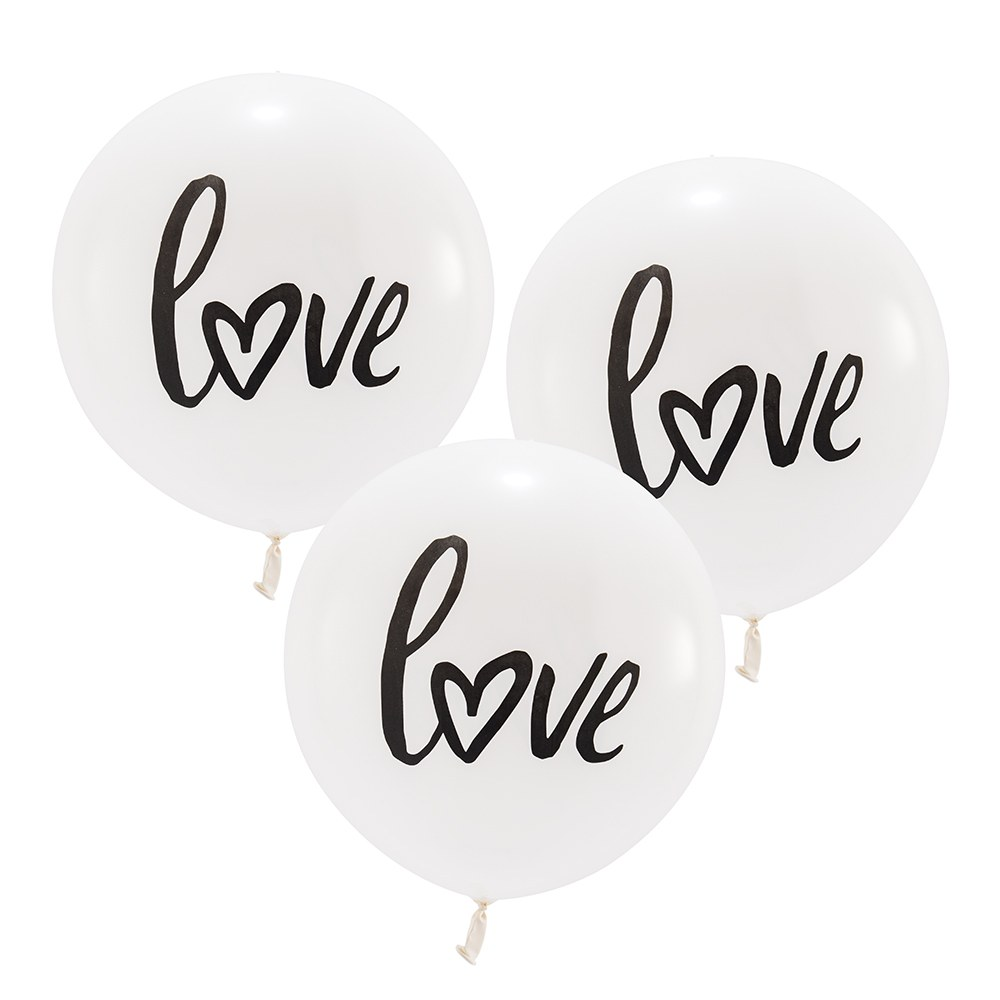 Large White Round Wedding Balloon Decorations - Love