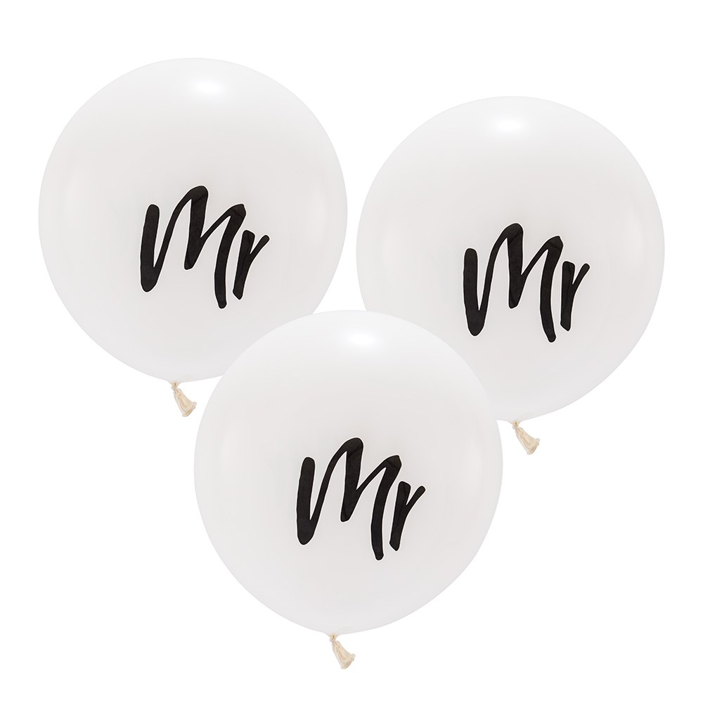 Large White Round Wedding Balloon Decorations - Mr