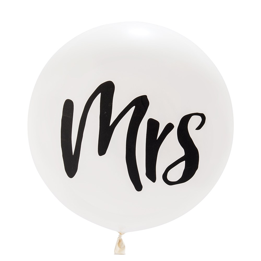 Jumbo White Round Wedding Balloon Decorations - Mrs