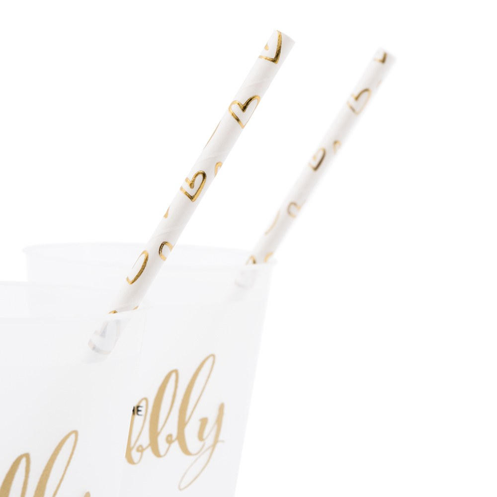 Gold Foil Hearts Paper Drink Straws