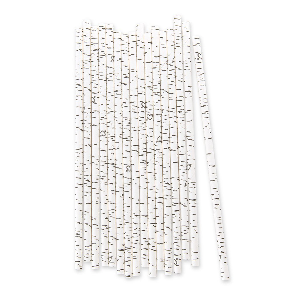 Birch Bark Print Paper Drinking Straw