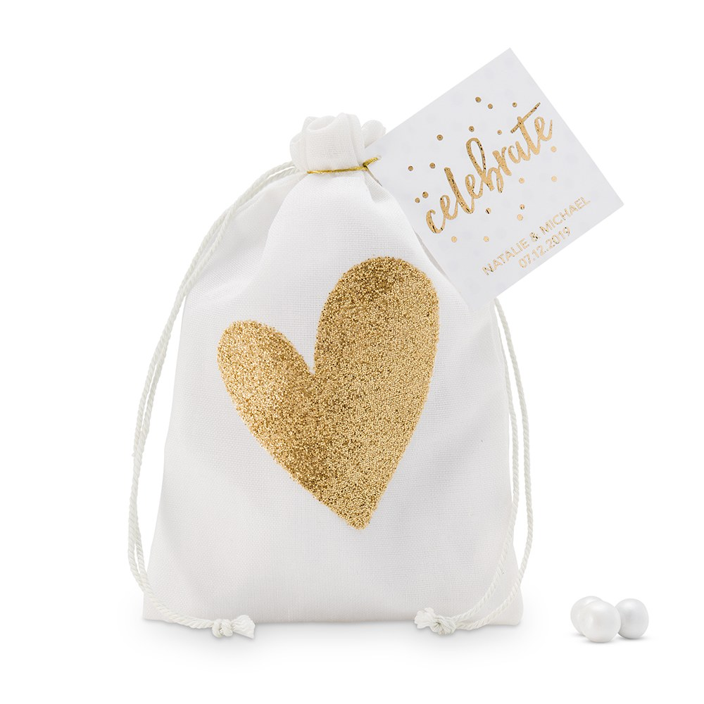 Cotton Drawstring Bag with Gold Heart - Medium