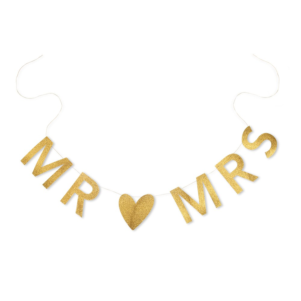 Mr & Mrs Gold Glitter Wedding Sign