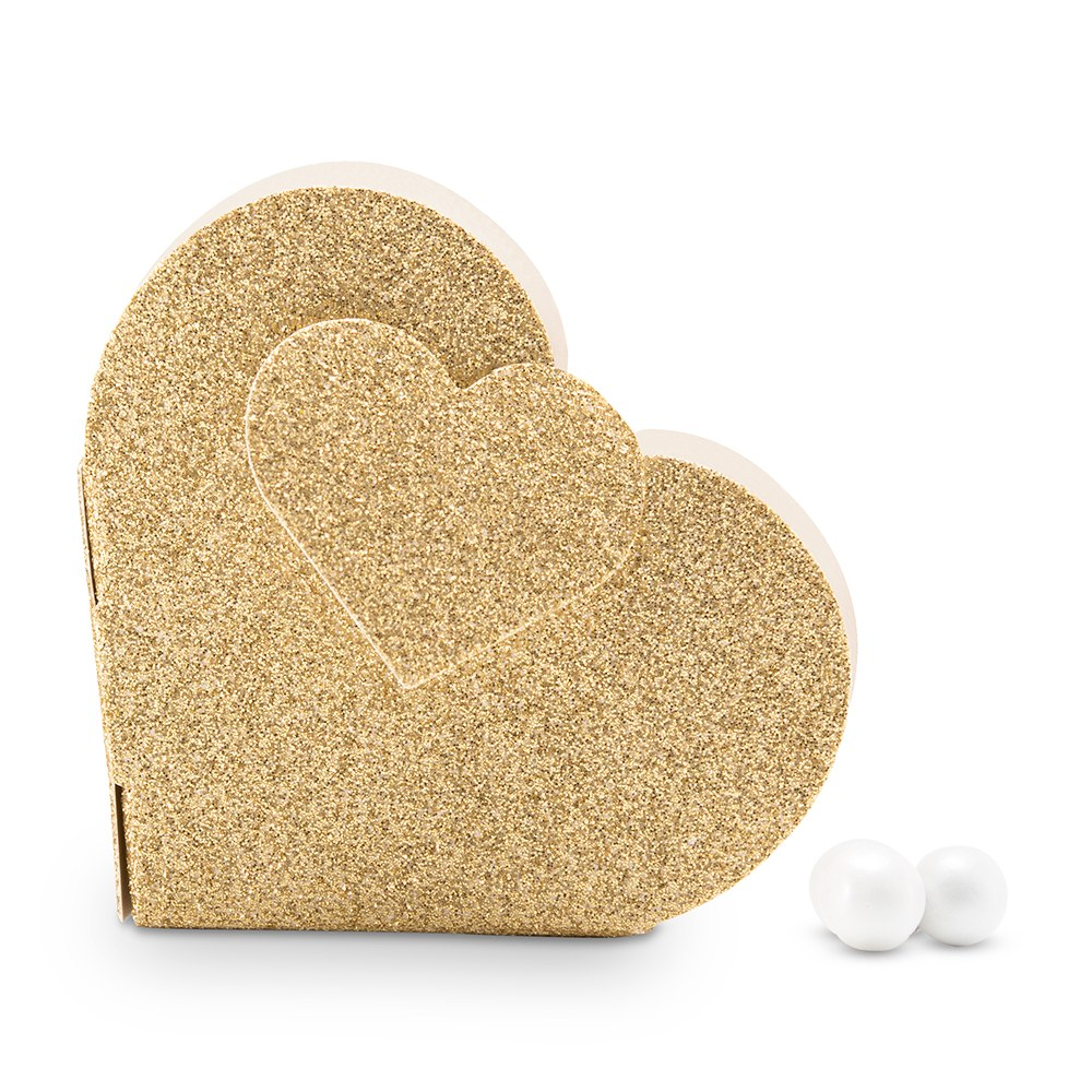 Gold Glitter Heart Wedding Favor Box