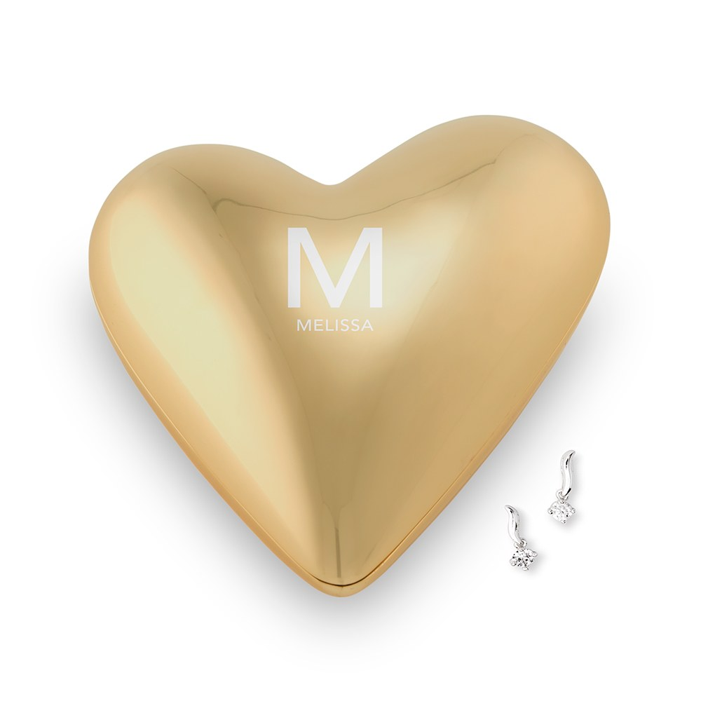 Small Personalized Gold Heart Jewelry Box - Custom Monogram and Text Engraving