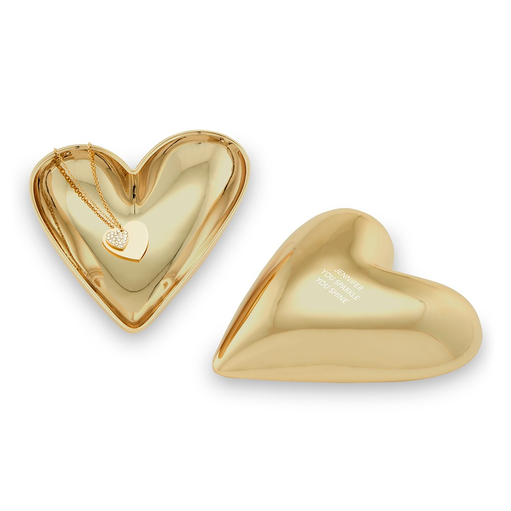 Small Personalized Gold Heart Jewelry Box - Custom Text Engraving