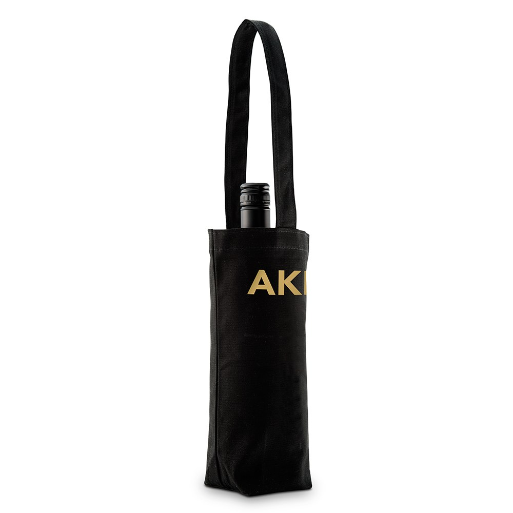 Modern Monogram Black Canvas Wine Tote Bag