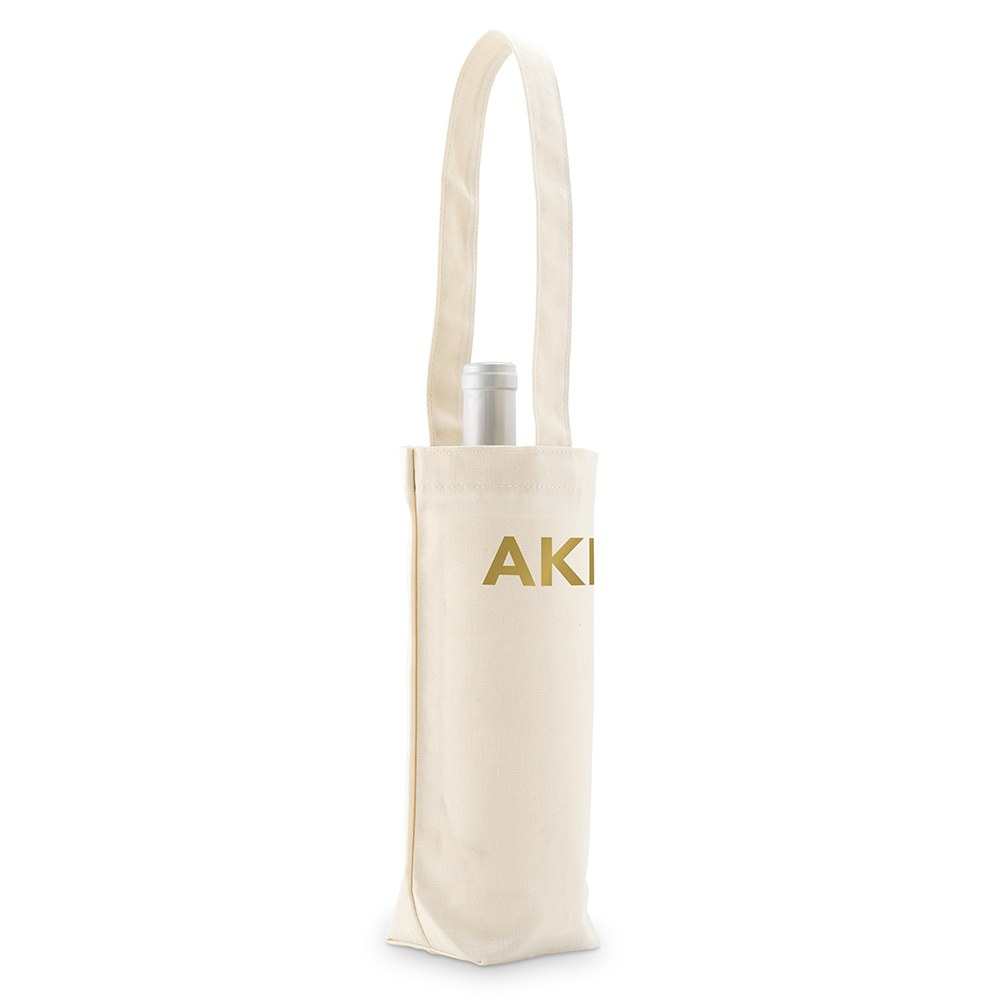 Modern Monogram Natural Canvas Wine Tote Bag