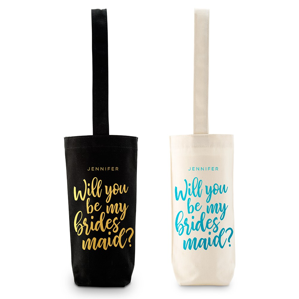 Personalized Reusable Wine Bottle Tote Bag - Bridesmaid Proposal