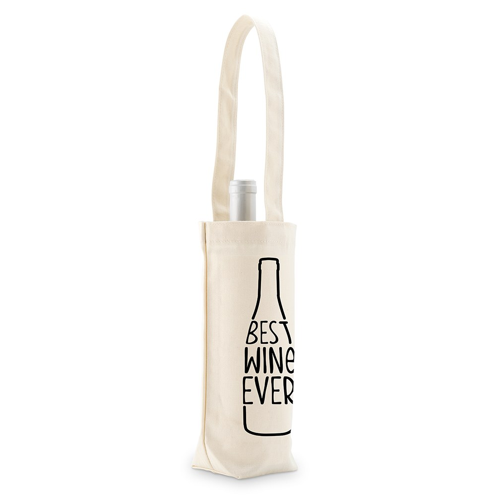 Best Wine Ever Personalized Natural Canvas Wine Tote Bag