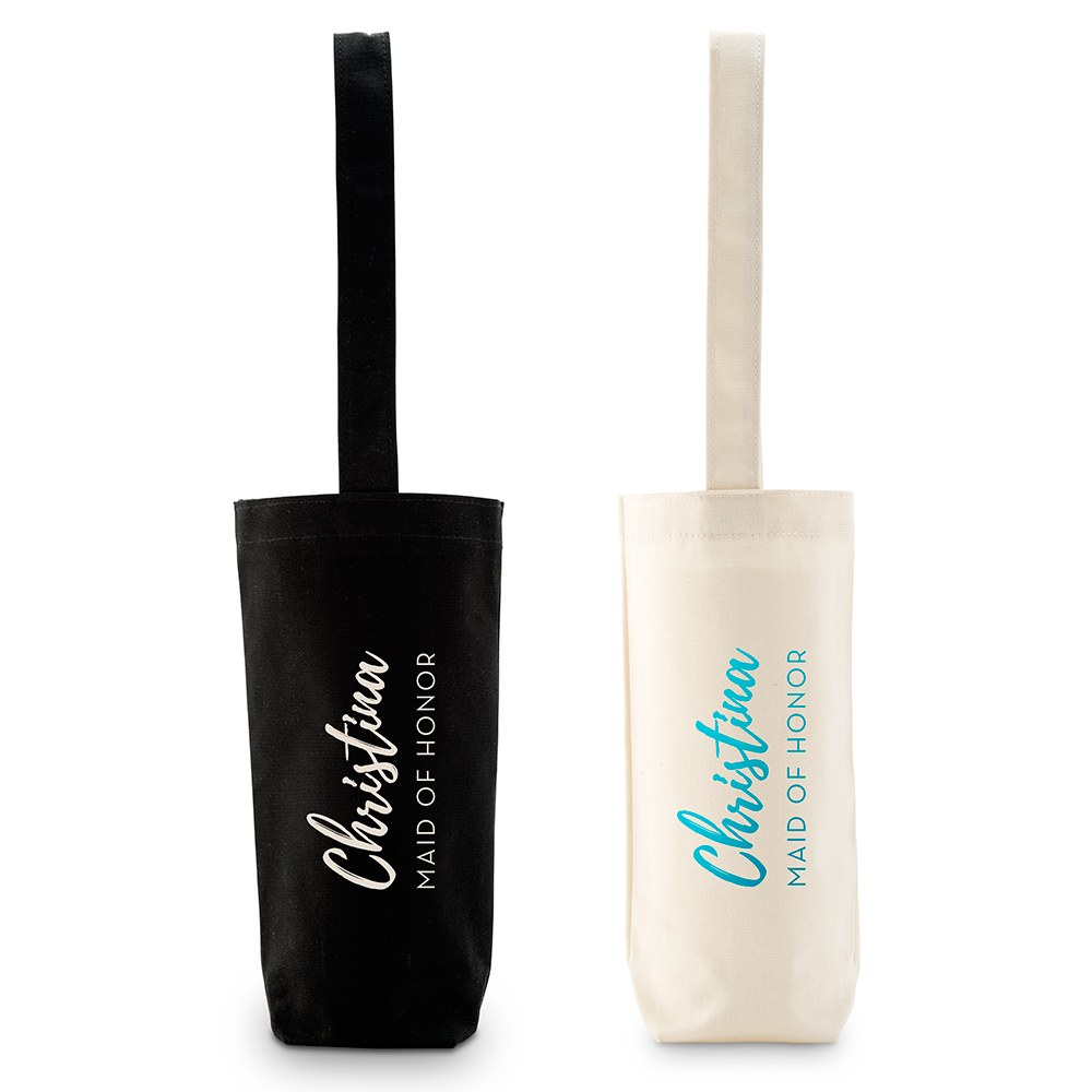 Personalized Reusable Wine Bottle Tote Bag - Calligraphy