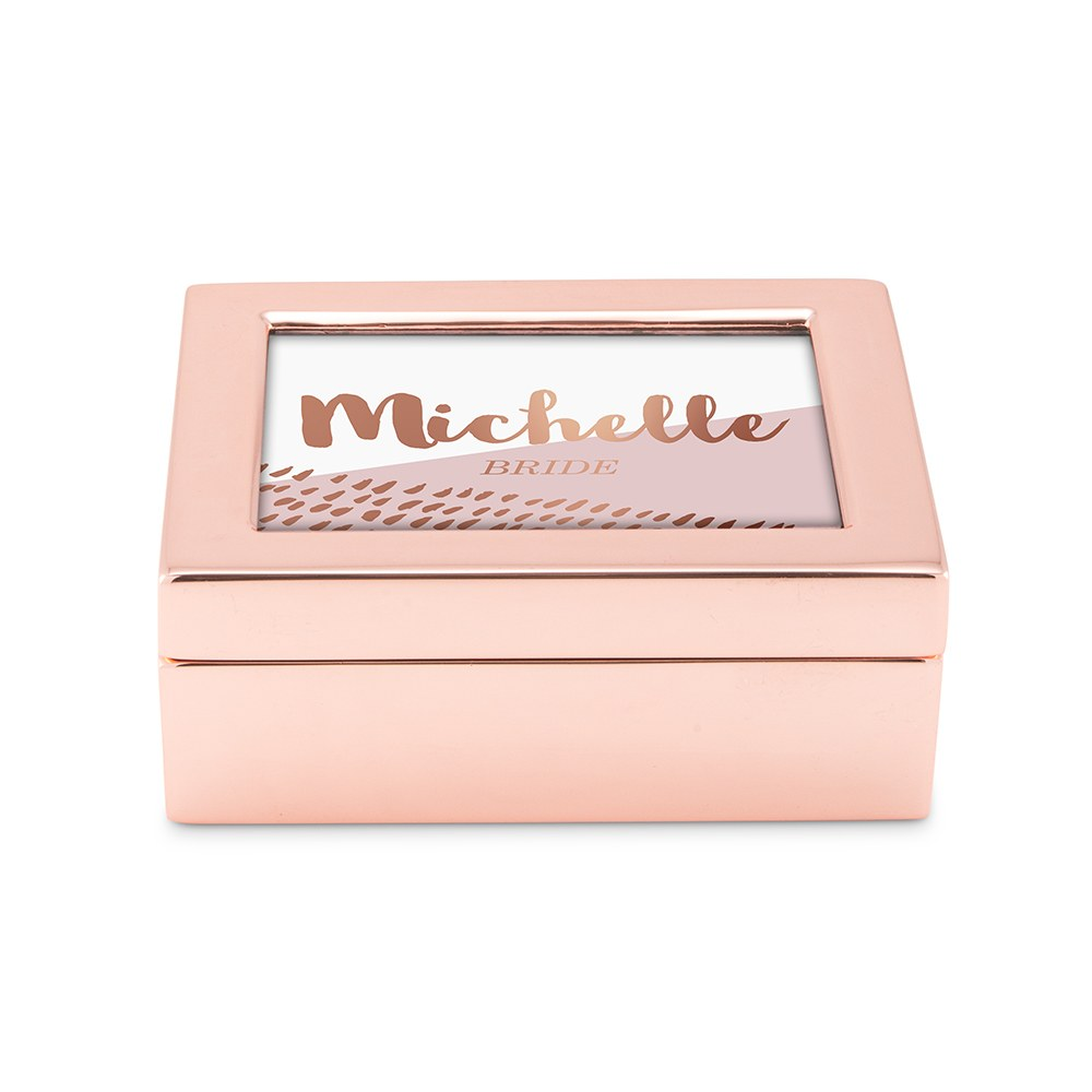 Small Personalized Modern Metal Jewelry Box - Retro Luxe Foil Print