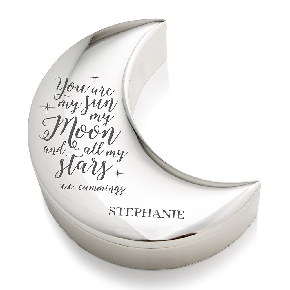 Small Personalized Silver Half Moon Jewelry Box – Sun Moon and Stars Engraving