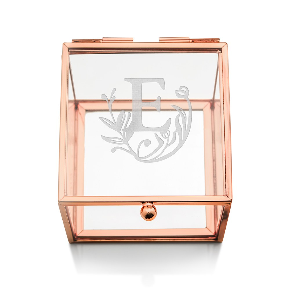 Small Personalized Rose Gold Glass Jewelry Box– Modern Fairy Tale Engraving