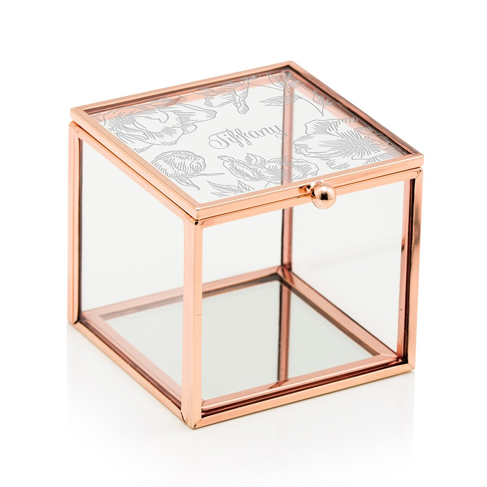 Small Personalized Rose Gold Glass Jewelry Box – Floral Print Engraving