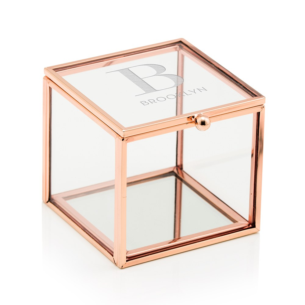 Small Personalized Rose Gold Glass Jewelry Box – Modern Serif Engraving