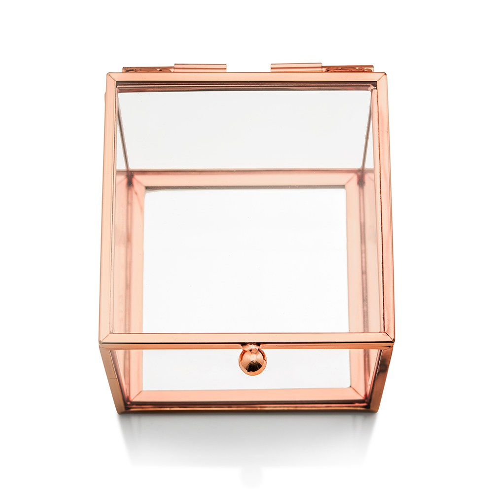 Small Glass Jewelry Box with Rose Gold Edges