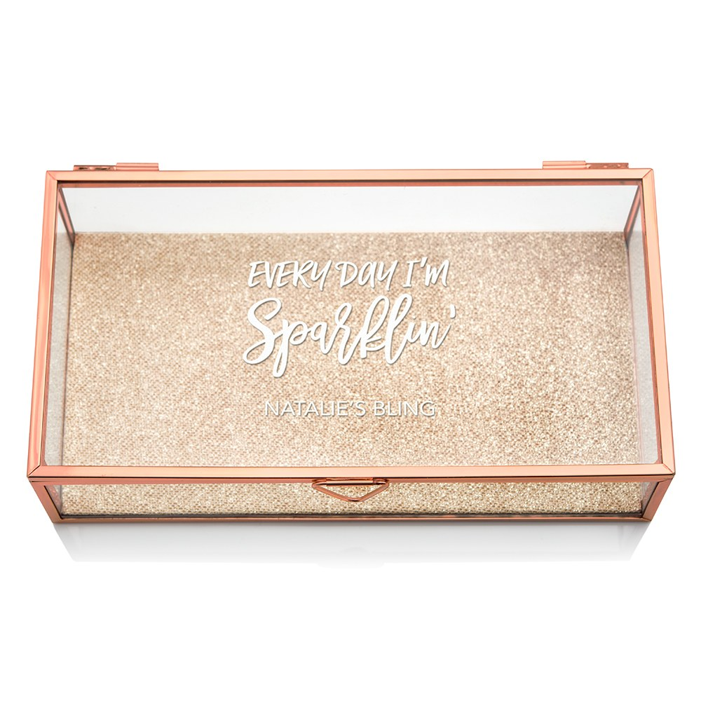 Large Personalized Rectangle Glass Jewelry Box- Every Day I'm Sparklin' Print