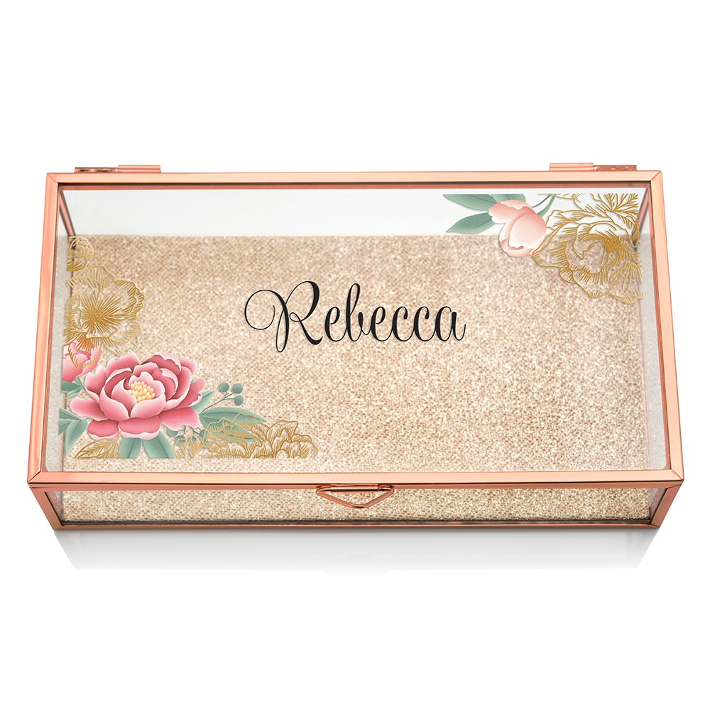 Large Personalized Rectangle Glass Jewelry Box- Modern Floral Print