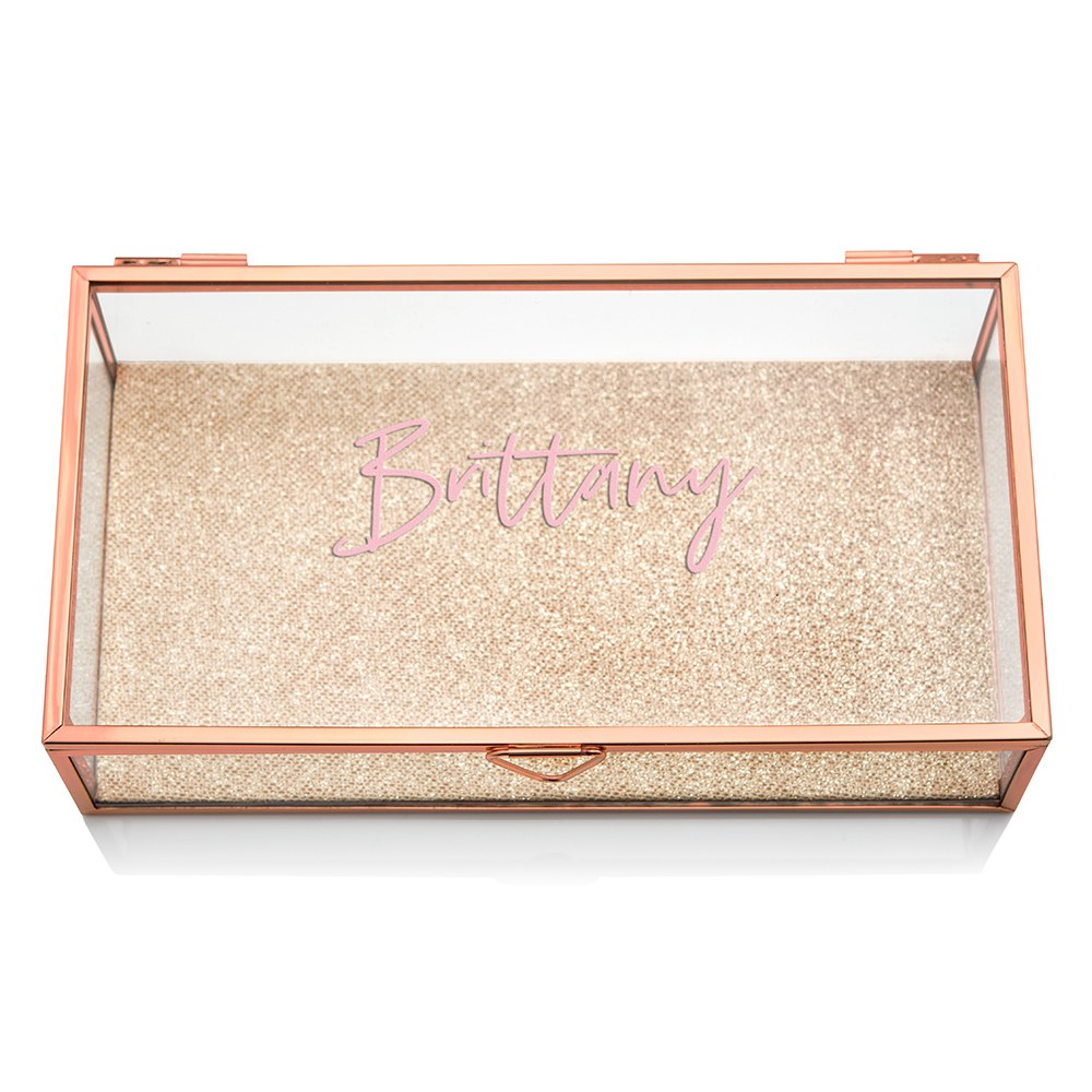 Large Personalized Rectangle Glass Jewelry Box - Script Font
