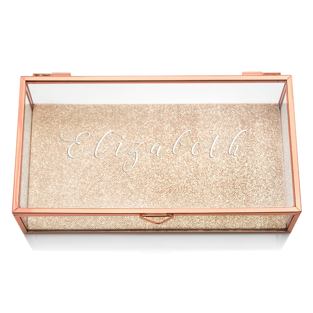 Large Personalized Rectangle Glass Jewelry Box- Elegant Calligraphy Print