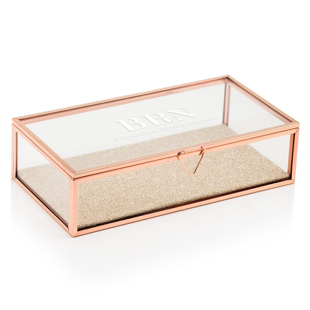Large Personalized Rectangle Glass Jewelry Box- Modern Serif Print