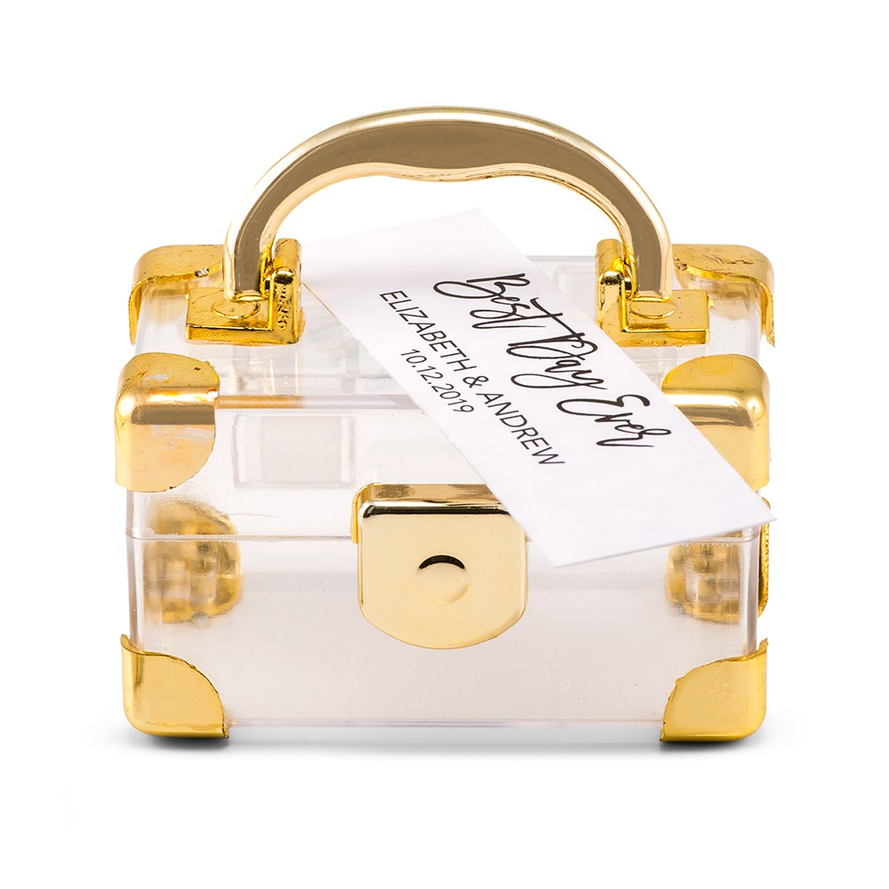 Mini Travel Suitcase Favor Box - Gold