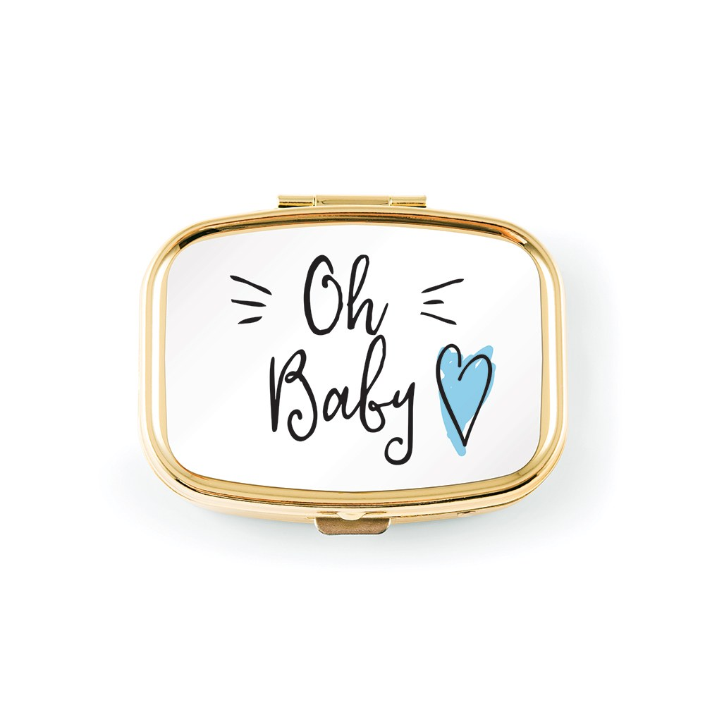 Small Gold Baby Keepsake Case - Blue Heart