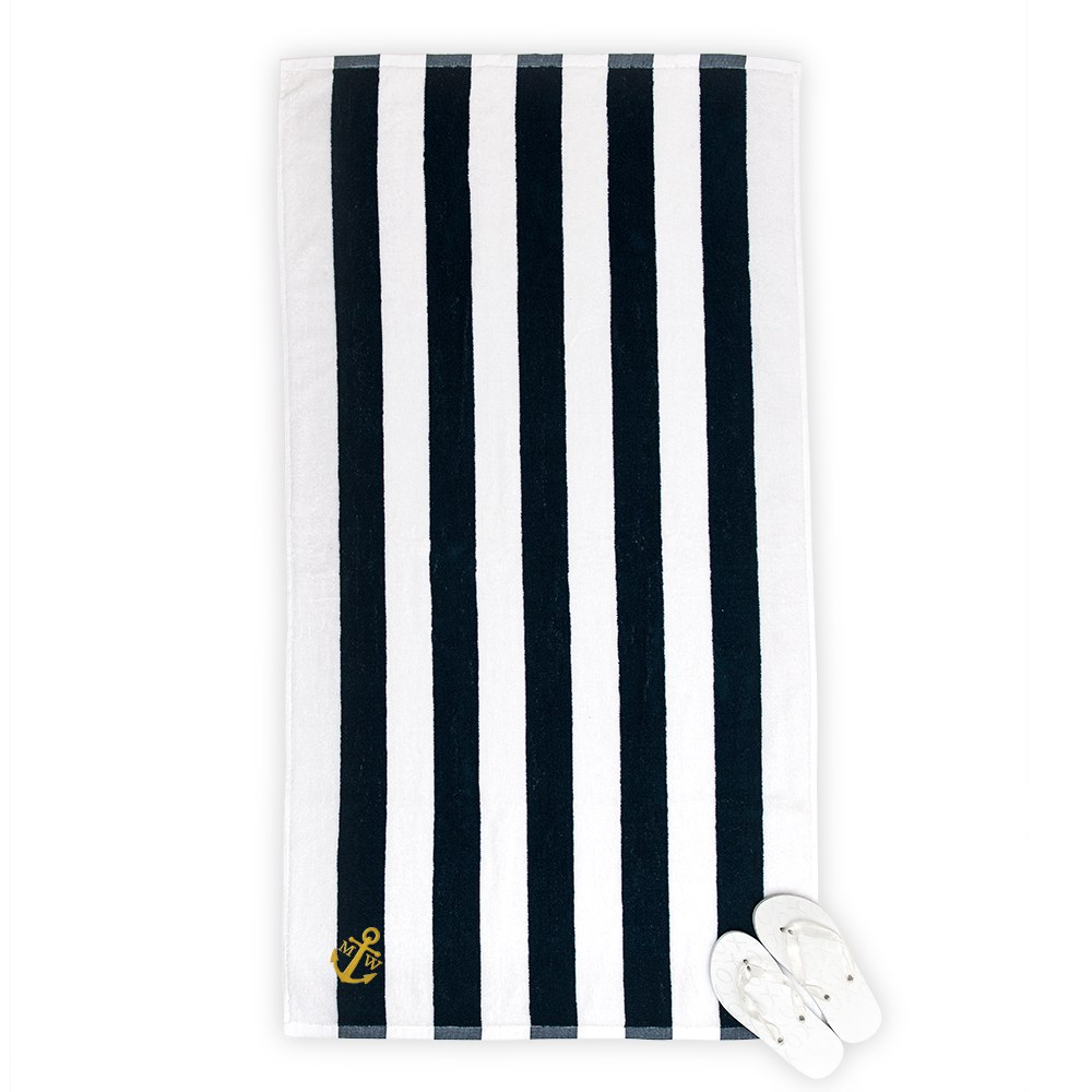 Large Personalized Striped Terry Beach Towel- Navy & White