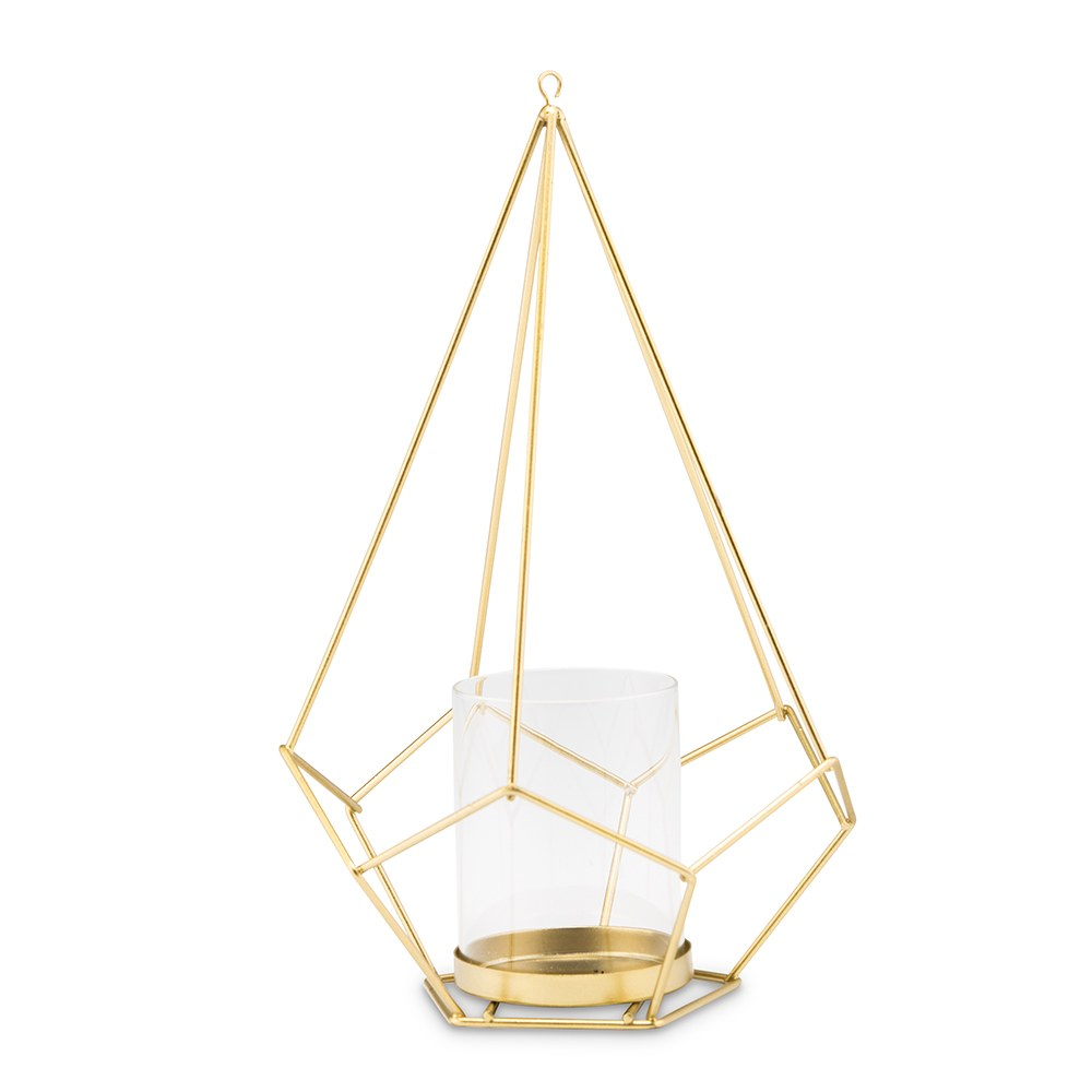 Tall Gold Geometric Candle or Flower Centerpiece