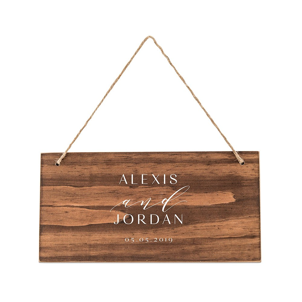 Small Personalized Wooden Wedding Sign - Natural - Modern Couple Print