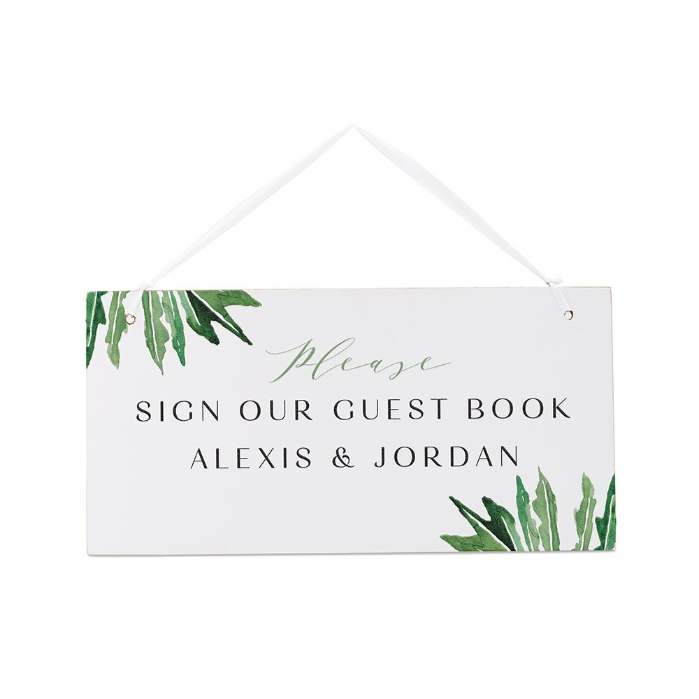 Small Personalized Wooden Wedding Sign - White Fern Greenery