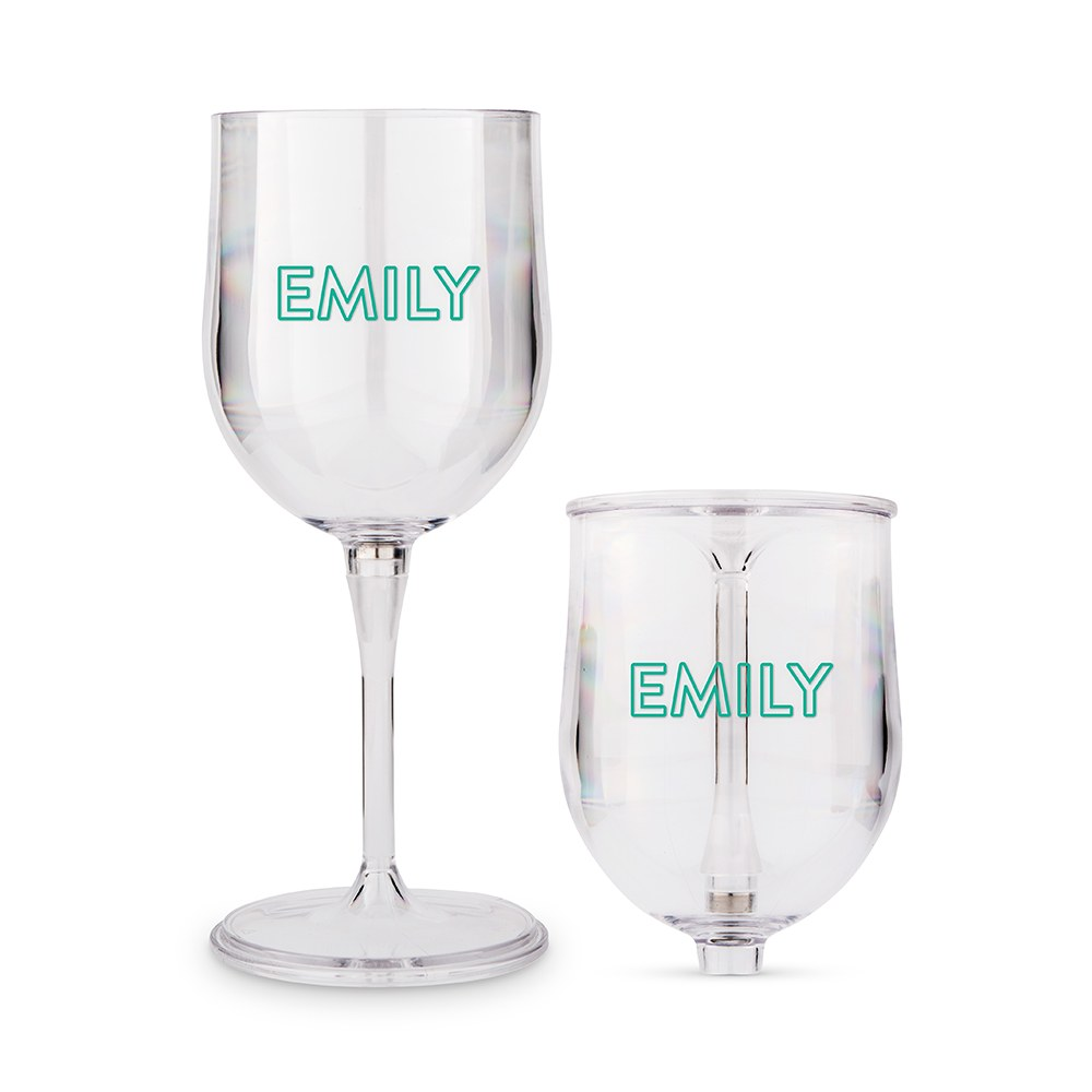 Personalized Portable Plastic Nesting Wine Glass – Outlined Monogram Print