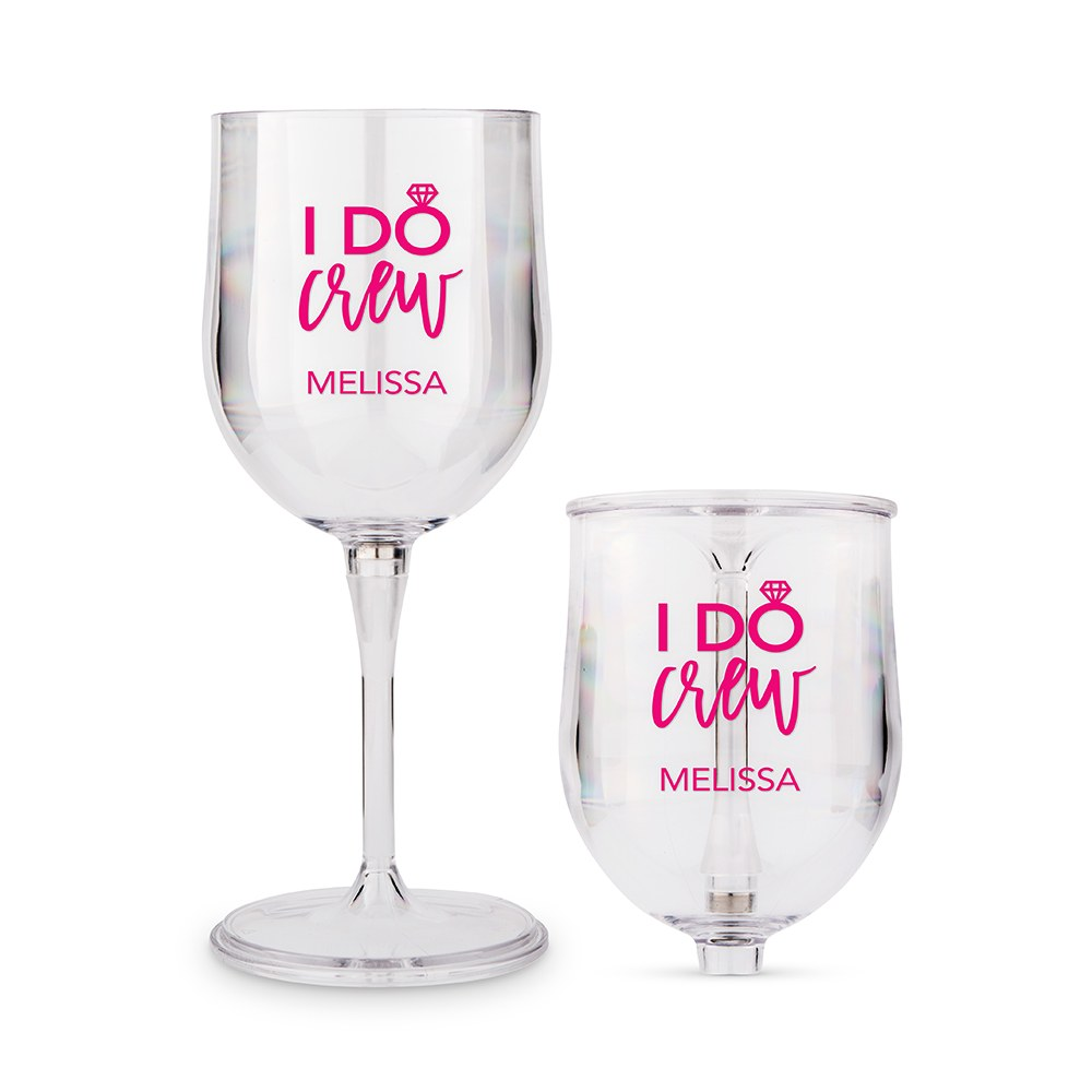 Personalized Portable Plastic Nesting Wine Glass – I Do Crew Print