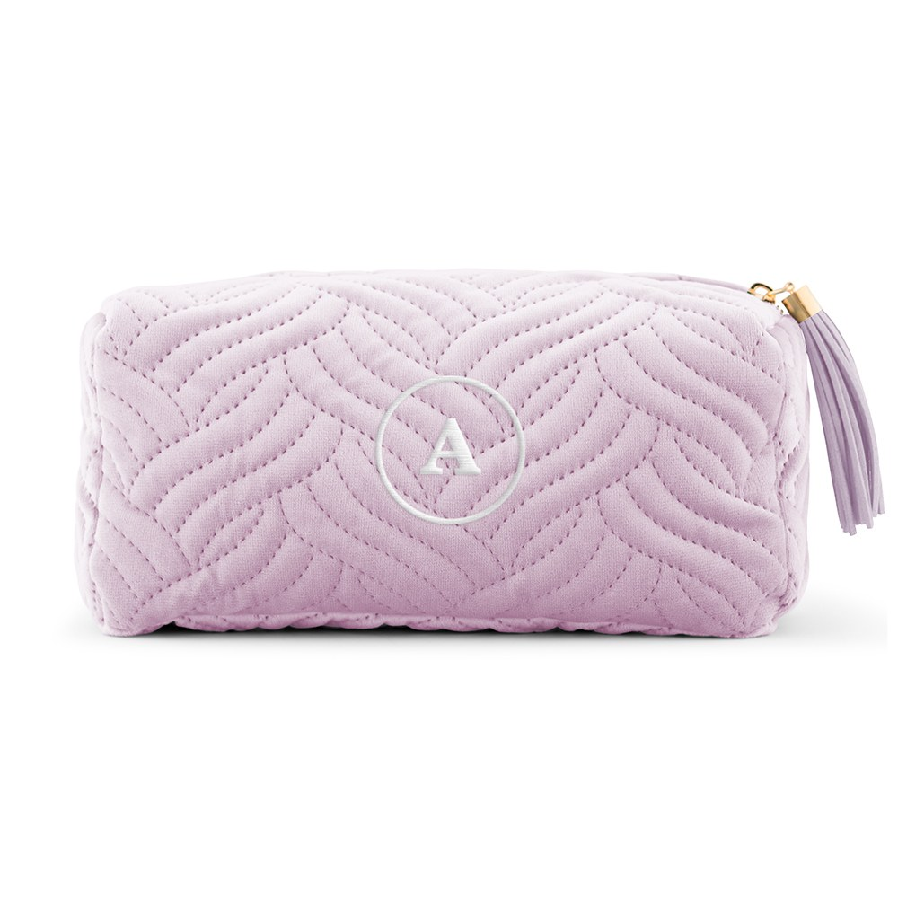 Quilted Velvet Travel Makeup Bag - Lavender Purple